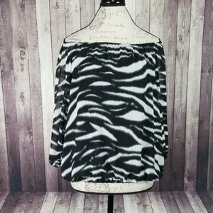 Vince Camuto zebra print off the shoulder blouse